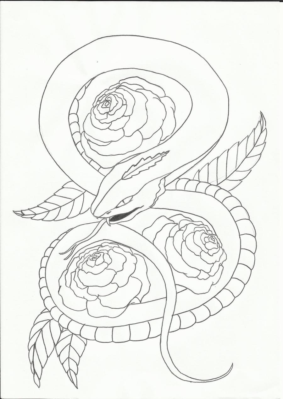 Snake Tattoo Line Drawing : Snake tattoo design by sasan ghods on deviantart