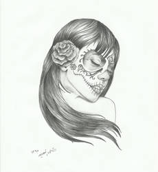 sugar skull lady in wind by sasan-ghods