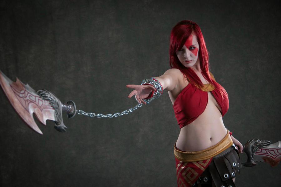 Kratos , Goddess of War --Blades of Chaos by Lisa-Lou-Who