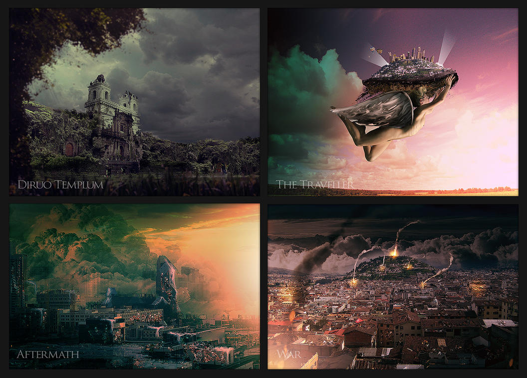 Some Matte Paintings at Class by mauricioestrella