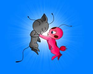 Tikki and Plagg Ladynoir hand kiss version