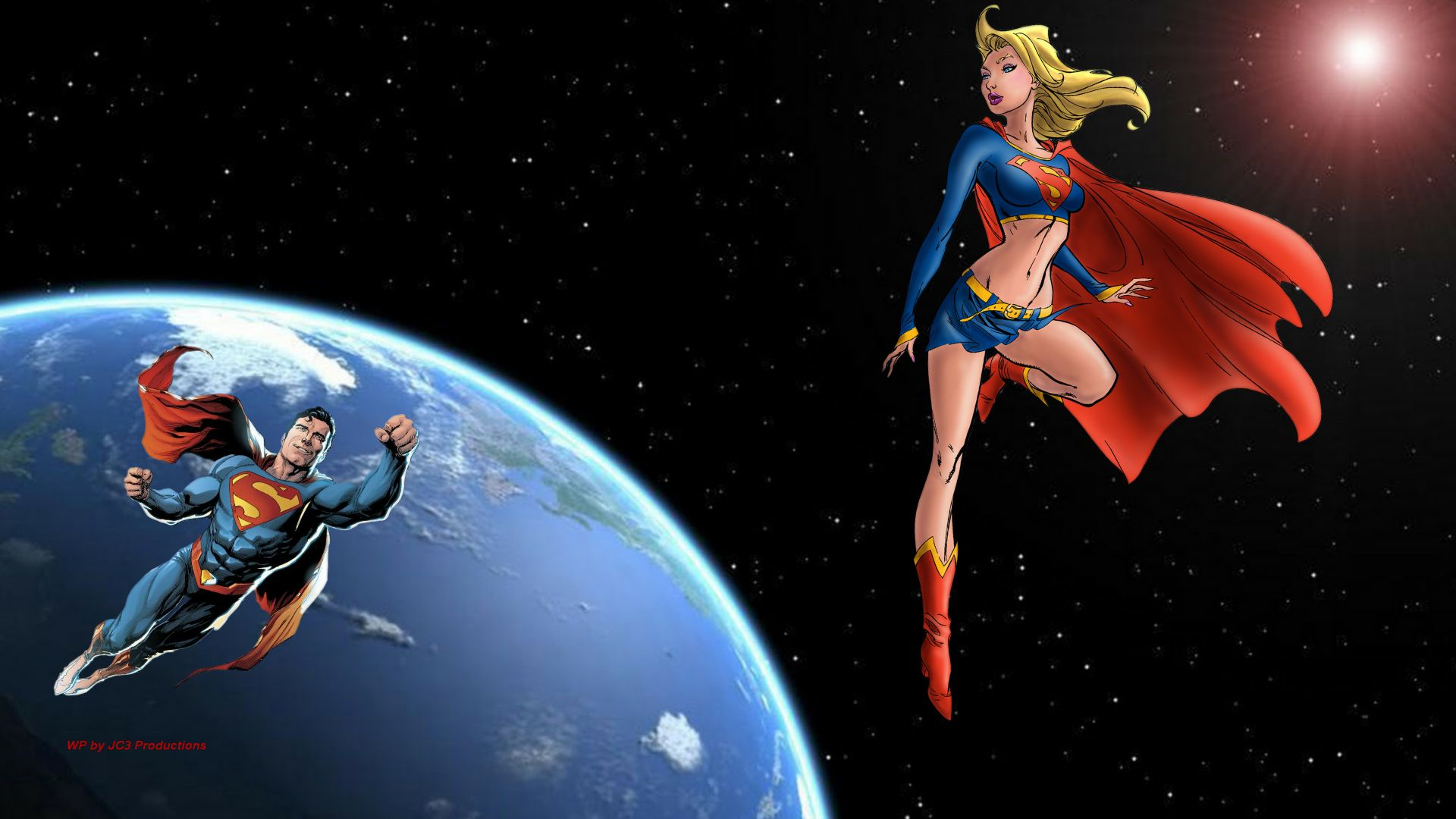 Supergirl Wallpaper - Superman In Space 2 by Curtdawg53