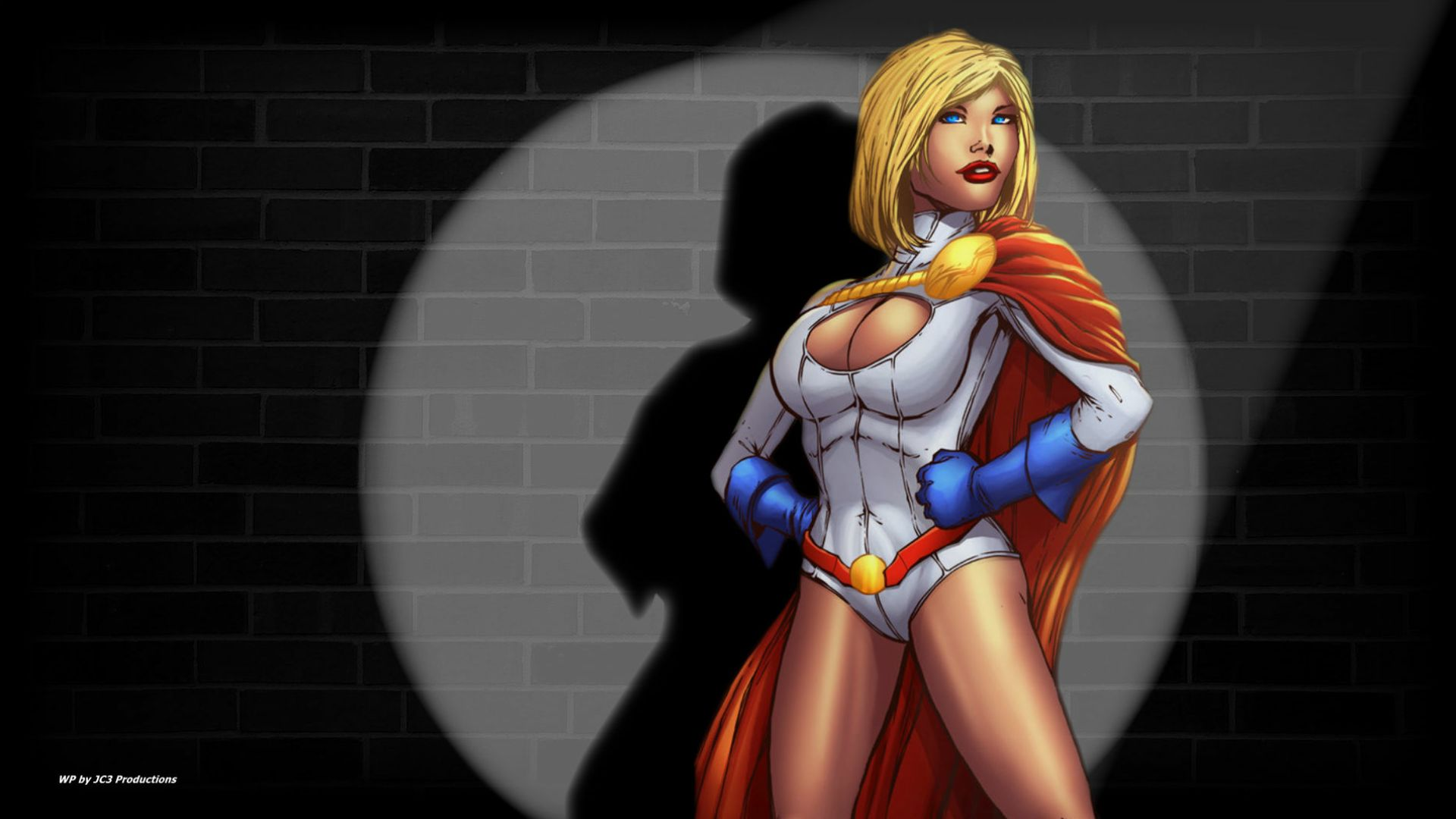 Power Girl Wallpaper Against the Wall by Curtdawg53