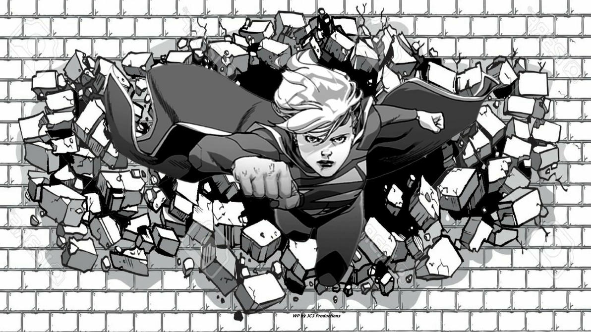 Supergirl Wallpaper Hitting The Bricks  by Curtdawg53
