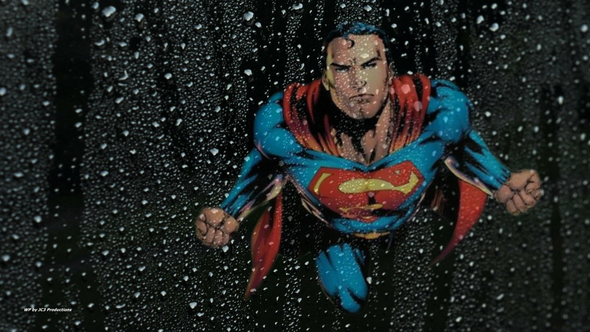 Superman Wallpaper Thru Wet Glass by Curtdawg53