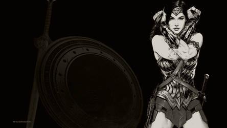 Wonder Woman In Black  White Wallpaper 2