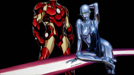 Iron Man and Iron Woman Wallpaper