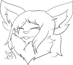 Delilah headshot, uncolored by Minnowbean666