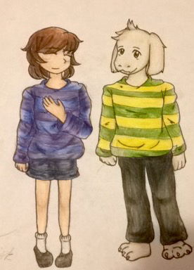 .: Frisk and Asriel by larlis1