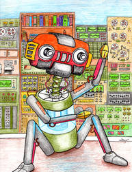 Colored pencil robot guy. by goodwifecole