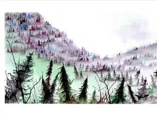 Foggy watercolor hillside. by goodwifecole