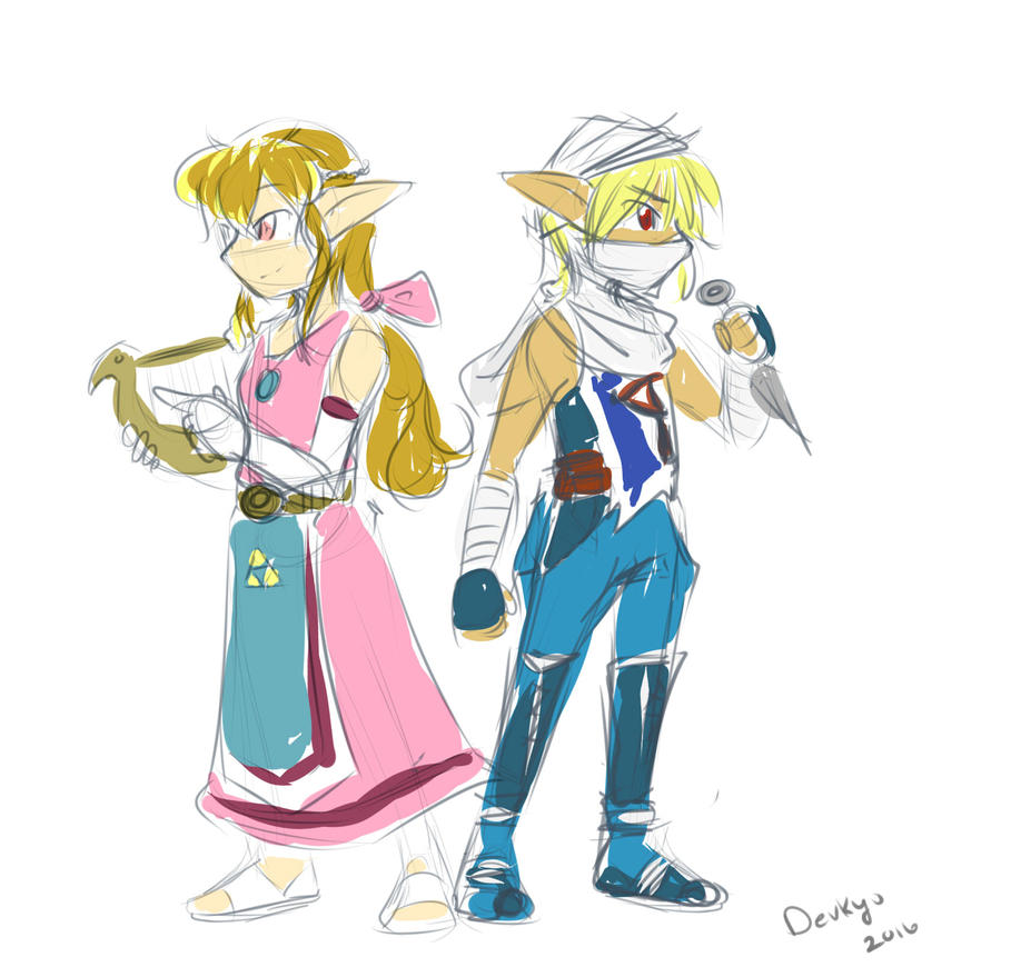 Memories of the Wind - Zelda and Sheik by Devkyu