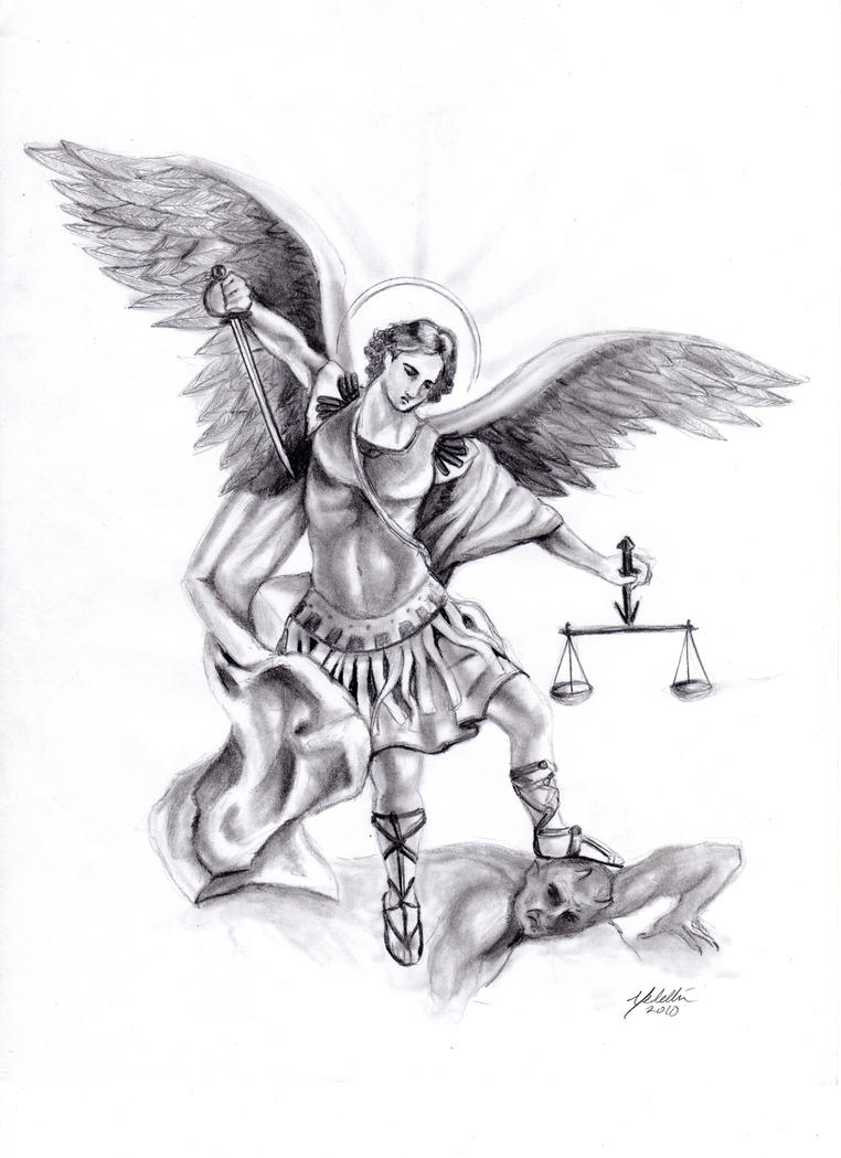 This is an image of Divine St Michael The Archangel Drawing