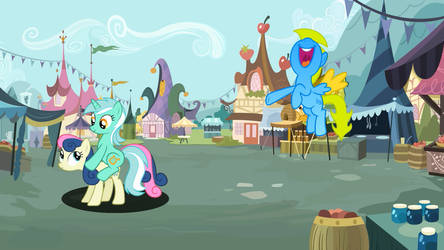 Lyra riding Bon-Bon again