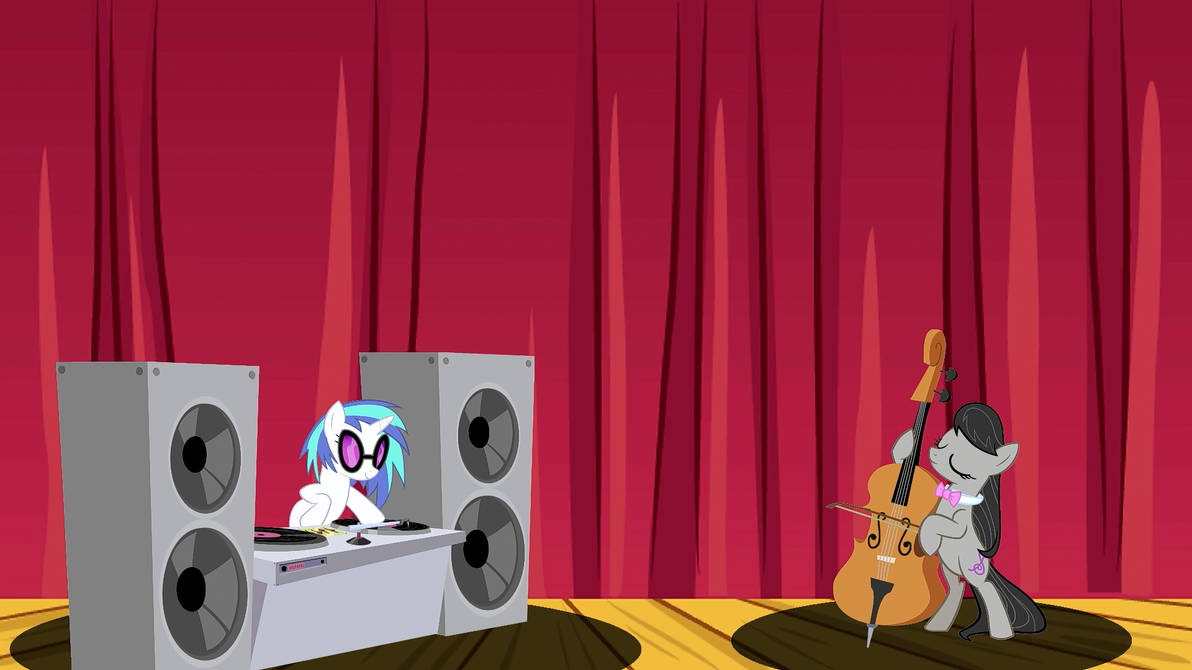 Vinyl Scratch and Octavia on the stage