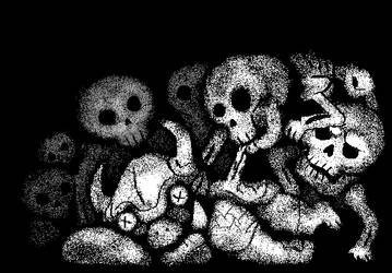 Skeletons eating an orc by Boojamon