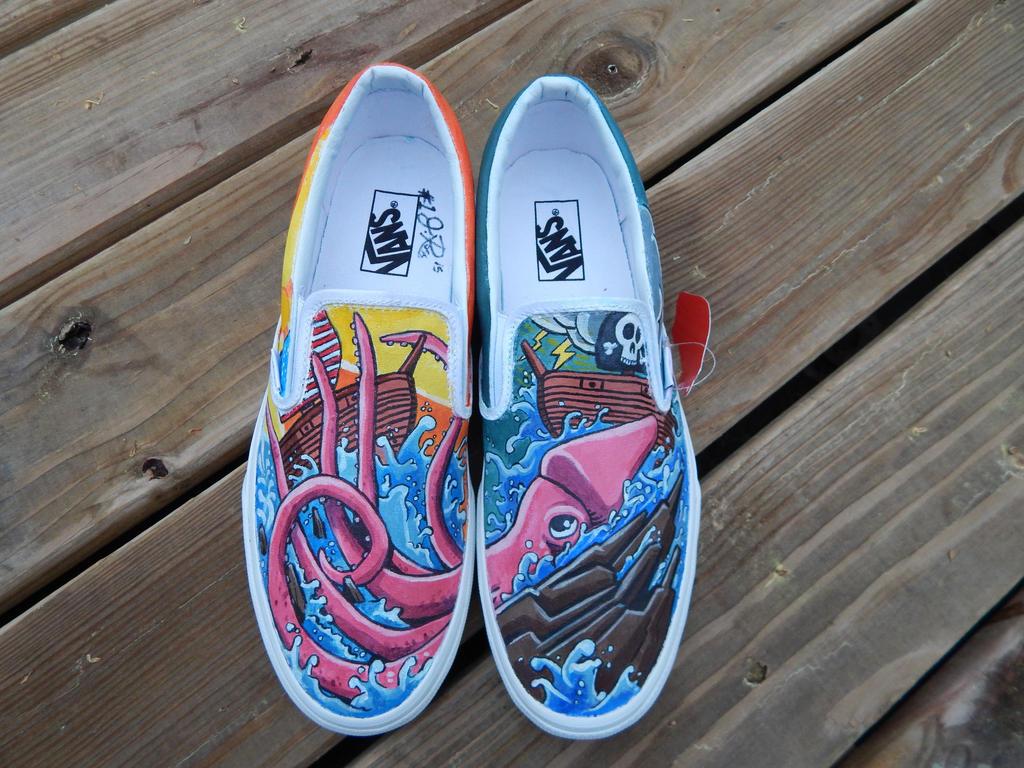 fbeedc49d916fd Pirate Ship Killer Squid VANS Custom Painted Kicks by SoleBliss on ...