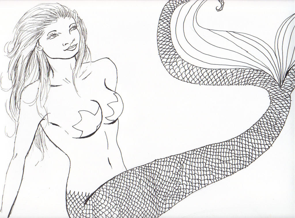 Mermaid-lineart by JadasArtVision