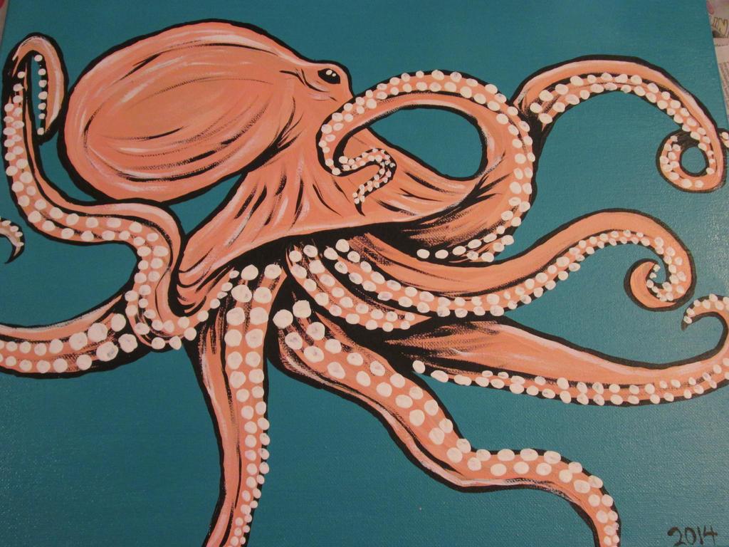 Pale Pink Octopus by JadasArtVision