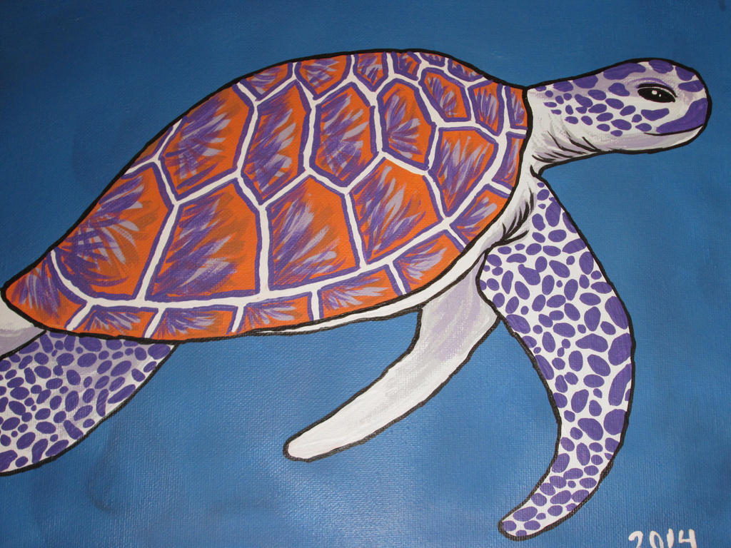 Orange and Purple Sea Turtle by JadasArtVision