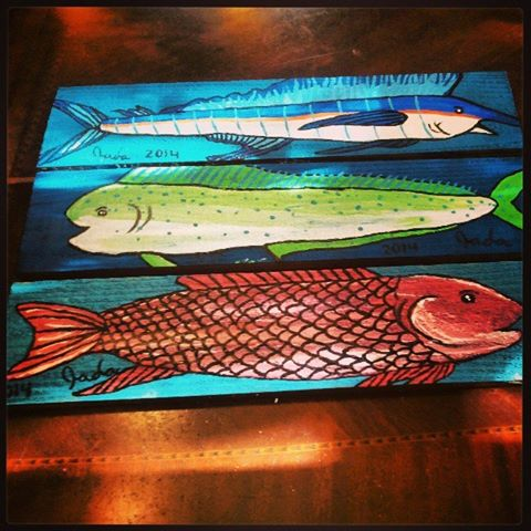Painted Wooden Board-Three fish by JadasArtVision