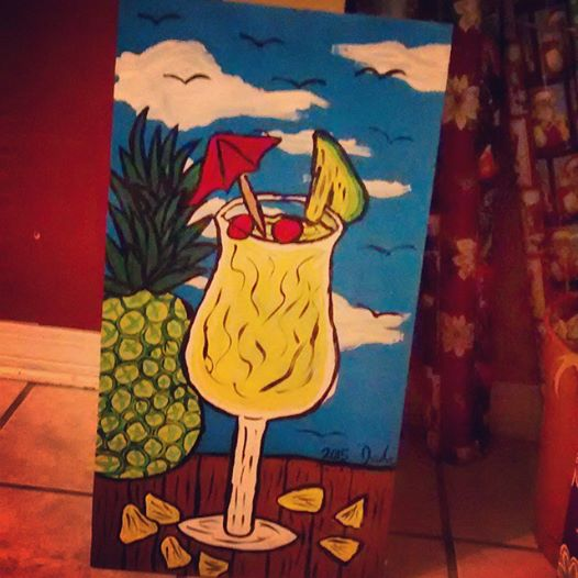 Painted Wooden Board- Pina Colada Escape by JadasArtVision