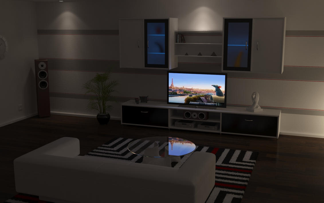 Living room at night by maxter83 on deviantart for Living room versus family room