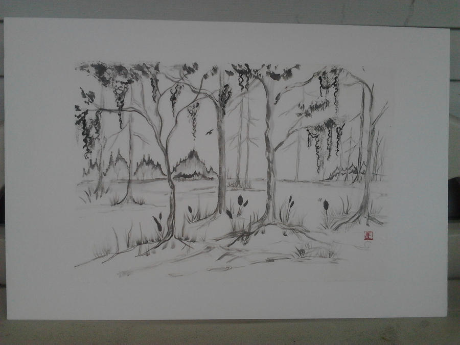 sumi-e forest swamp by Iolii