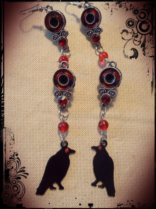 Itachi Crow Sharingan Earrings By Pikabellechu