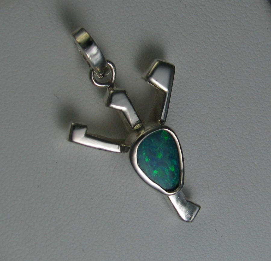 Elder futhark algiz sterling silver opal pendant by for Chambre a air 13 5 00 6