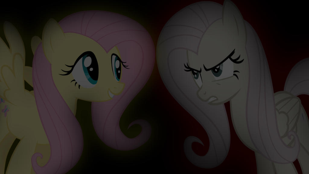 Good Fluttershy vs Evil Fluttershy by Amoagtasaloquendo