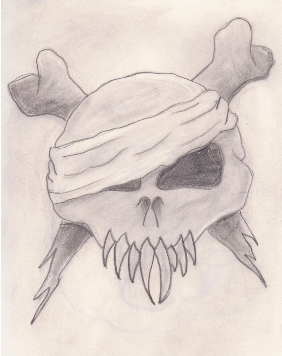 skull and cross bone's drawing by abomb987 on DeviantArt Skull And Cross Drawing