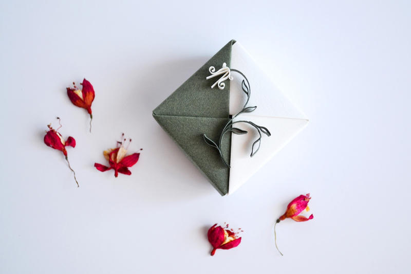 Origami Gift Box Green White Floral Quilling By Reversecascade On