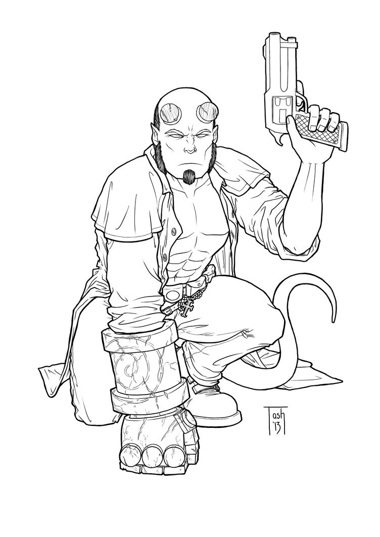 hellboy coloring pages - hellboy lines by tashotoole on deviantart