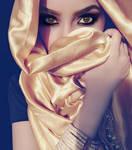 Silk Gold Hijab Stock