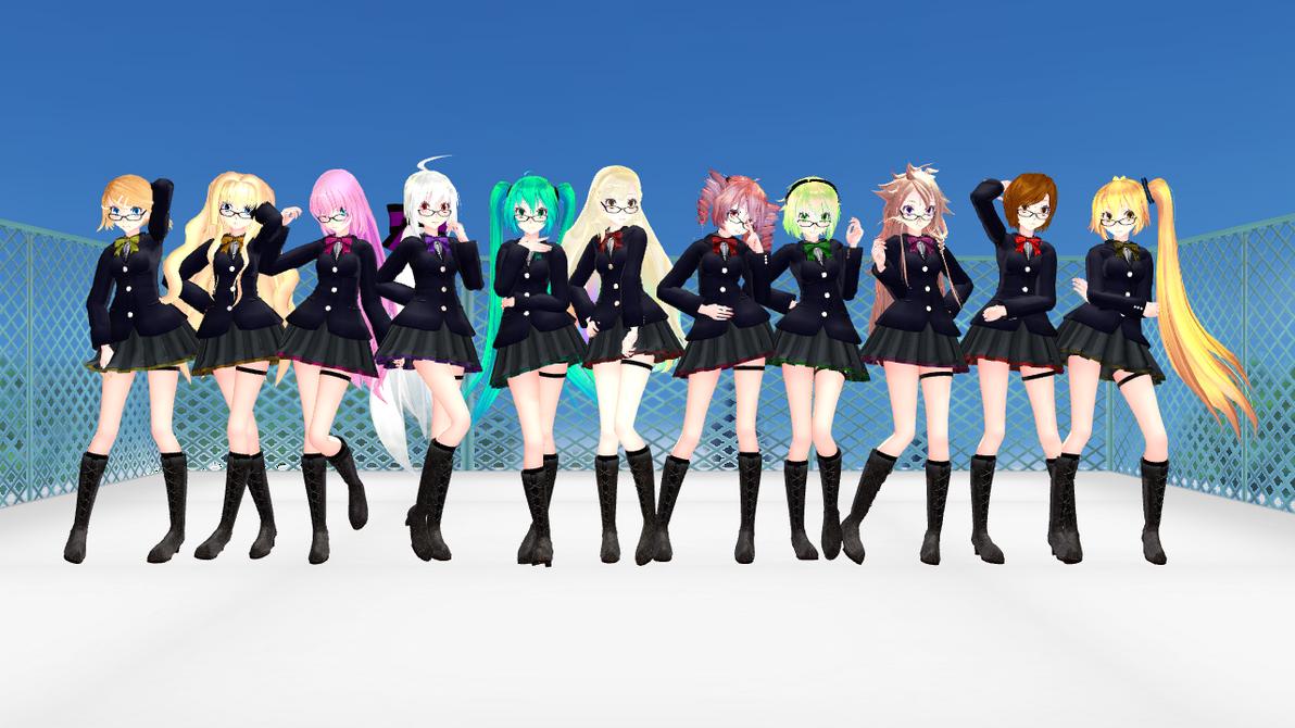 [MMD] TDA School girls + Links by Reineru-kun