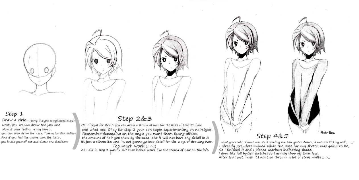 Anime girl (Step by Step) by Panda-sahn