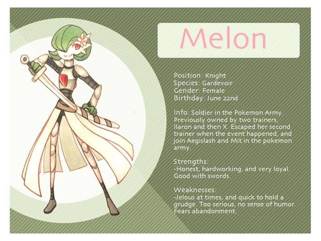 Melon the Gardevoir Bio Sheet by Xyliax