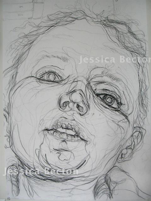 Contour Line Drawing Self Portrait : Semi blind contour by jessb on deviantart