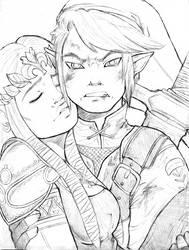 Link Rescuing Zelda [WIP] by mirmzy