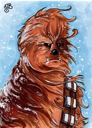 Chewbacca Sketch Card by birdiebo