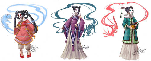 3 Chinese Sorceresses by YoukaiYume