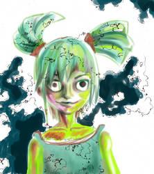 Green girl by DarkElin