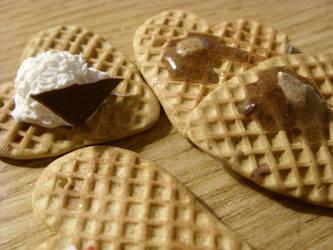 polymer clay waffles with syrup or icecream by trollwaffle