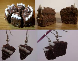 polymer clay chocolate cake by trollwaffle