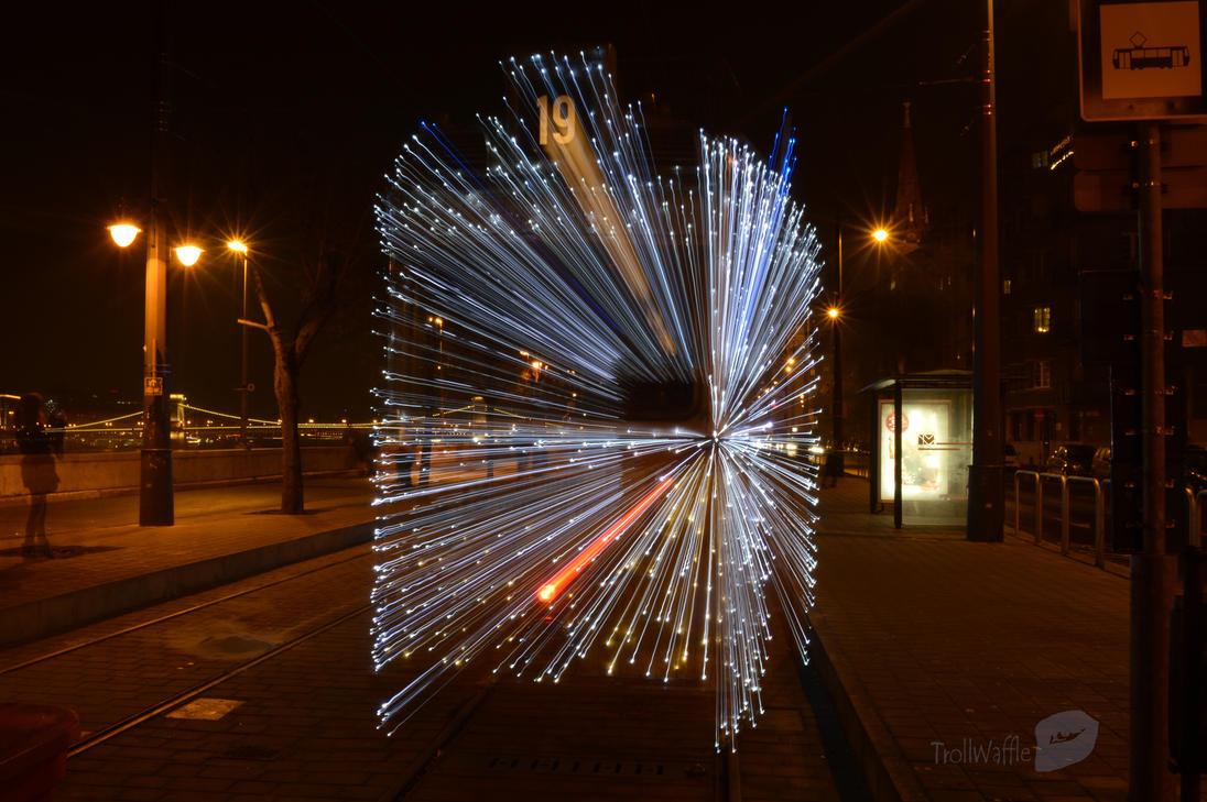 Christmas tram in Budapest by trollwaffle