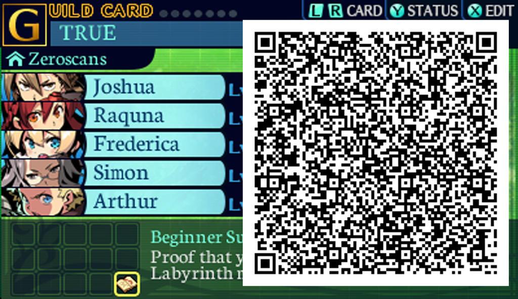 Etrian Odyssey Untold Card Guild Zero Scans QR Cod by