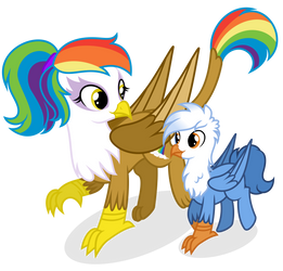 [Commission] Rainbow Feather and Gren