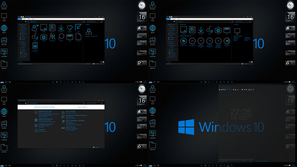 Windows 10 black edition screen 1 by moonnique on deviantart for Windows black screen