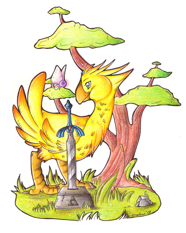 Chocobo in Kokiri Forest by Sethaa